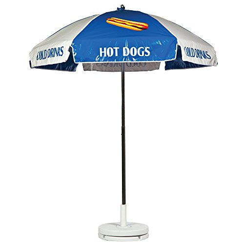 Hot Dog Concession Vendor Cart Umbrella – Blue & White Review