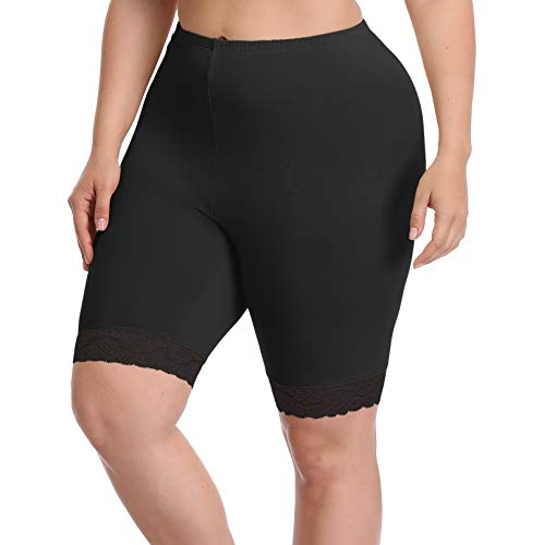 Women's Plus Size Modal Cotton Short Leggings Pants Lightweight Breathable Mid Thigh Stretchy Shorts (1X, Lace Edge Black)