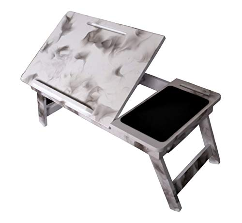 Fangle Wooden Adjustable Foldable Laptop Table & Drawer/Bed Table/Study Table -White DN-05