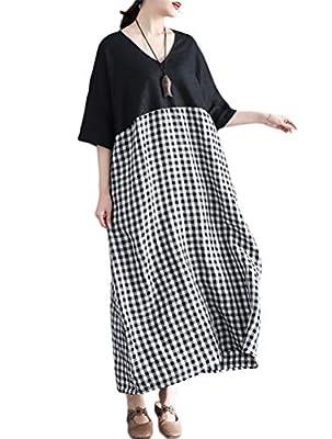 Mordenmiss Women's Cotton Linen Dresses Summer Plaid Shirt Dress with Pockets