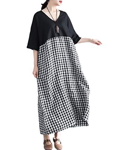 (Mordenmiss Women's Cotton Linen Dresses Summer Plaid Shirt Dress with Pockets (Black,S))