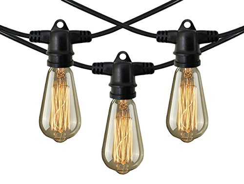 Decorative Patio Style Outdoor or Indoor Lighting – 48 Foot Weatherproof Commercial Grade Black String Lights with Edison Bulbs – Nostalgic, Vintage, Party, Lawn, Garden, Wedding, Holiday Decorations