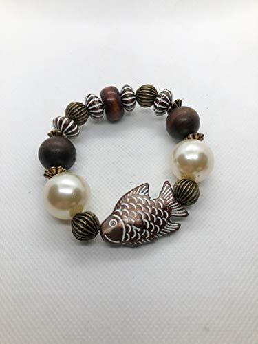 Chunky Exotic Bracelet - Asian Koi Goldfish, Crystal Oversized Pearls and Mahogany Wood Beads - 7.5
