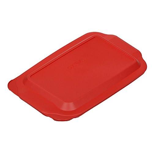 "Pyrex 3 Quart 9"" x 13"" Red Rectangular Plastic Lid 233-PC for Glass Baking Dish (2 Pack)"