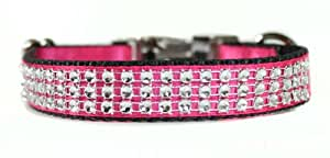 Sophisticated Pup Bling Dog Collar, Small, Pink Satin