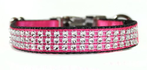 Collar Glam (Sophisticated Pup Bling Dog Collar, Medium, Pink Satin)