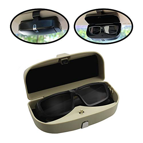 Xinker Glasses Case Holder Clip Organizer Mount with Ticket Card Car Sun Visor,Eye Glasses Organizer Box with A Snap Clip Design,Glasses Holder for ABS 1Pcs Apply to All Car Models (Beige)