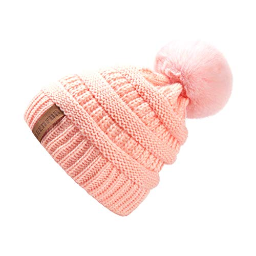 QUEENFUR Women Knit Slouchy Beanie Chunky Baggy Hat with Fau