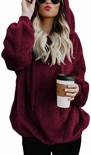 American Trends Oversized Sweatshirts for Women Athletic Womens Sherpa Hoodie Fluffy Women's Hoodies Pullover with Pockets