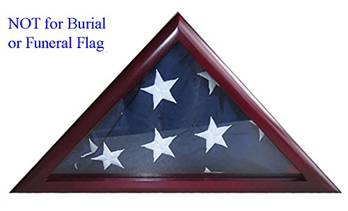 3'X5' Folded Flag Display Case Shadow Box, Solid Wood, Glass Front, FC38-CH