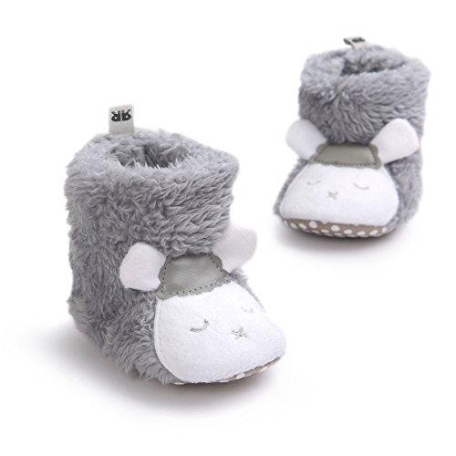 Lanchengjieneng Neugeborenes Jungen Mädchen Korallen Vlies Tier Schaf Prewalker Schuhe Winter Warme Baby Aufladungs Krippe Schuhe Weiche Untere Baby Schuhe Schaf Grau