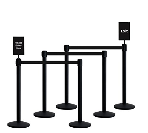 Printed Webbing Belt (Queueway Crowd Control Retractable Belt Stanchion 6-Pack Kit with Signs USA Made (Black Webbing))