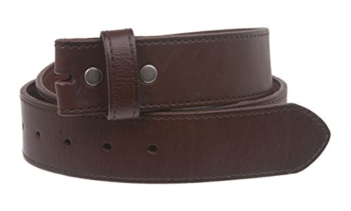 Snap On Cowhide Full Grain Stitching-Edged Leather Belt Strap Size: 32 Color Brown