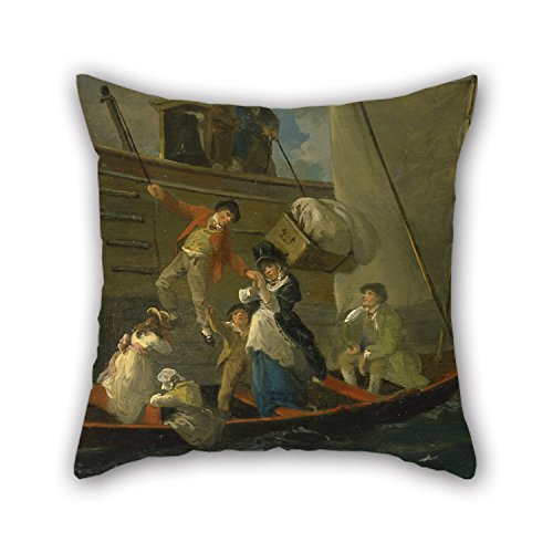 Artistdecor 18 X 18 Inches / 45 By 45 Cm Oil Painting Julius Caesar Ibbetson - A Married Sailor's Adieu Pillow Covers,twin Sides Is Fit For Home,living Room,play Room,outdoor,bench,seat (Lace Pillow Toss)