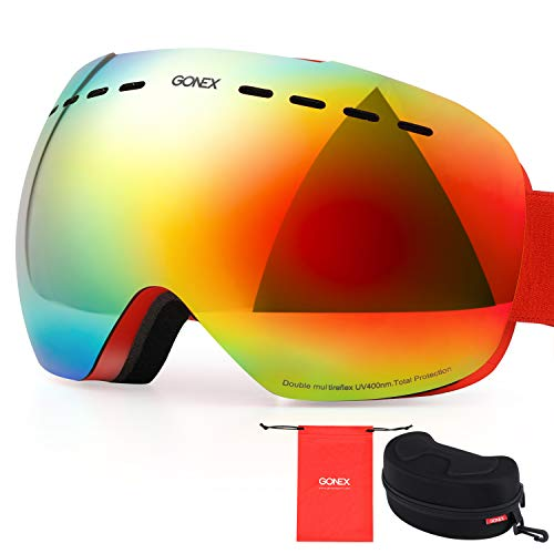 (Gonex OTG Ski Goggles, Anti-Fog UV Protection Snow Snowboard Goggles with Box for Men & Women Frameless(Red Lens))