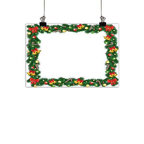 (duommhome New Year Modern Frameless Painting Xmas Themed Garland with Candy Canes Ribbons Colorful Baubles and Bells Winter Bedroom Bedside paintingMulticolor 27