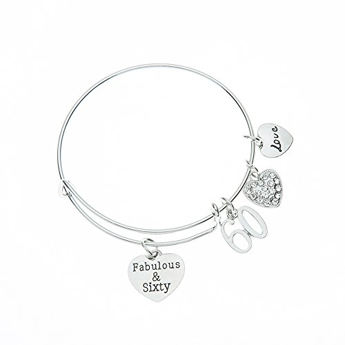 Infinity Collection 60th Birthday Gifts for Women, 60th Birthday Charm Bracelet, Adjustable Bangle, Perfect 60th Birthday Gift Ideas ()