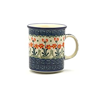Polish Pottery Mug – Straight Sided – Peach Spring Daisy