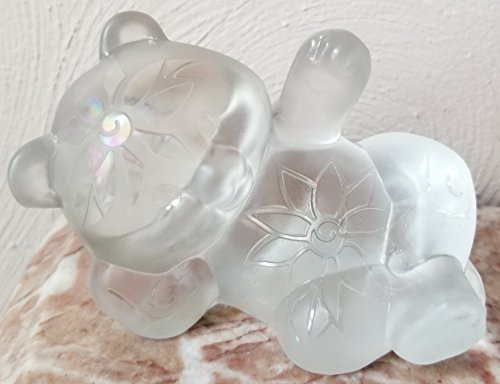 Fenton Reclining Bear w/Carnival Sand Carved - Crystal Mist Solid Glass - Rosso (Fenton Crystal Bear)