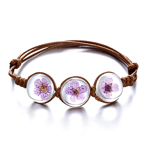 Rinhoo Handmade Dry Pressed Flower Cherry Blossom Gemstone Glass Cover Charms Adjustable Rope Strand Bangle Bracelet Women Girls Jewelry(Purple) (Handmade Glass Flower)