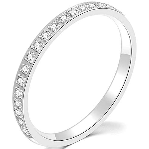 Jude Jewelers 3mm Stainless Steel Half Eternity Wedding Band Stackable Ring (Silver, 10)