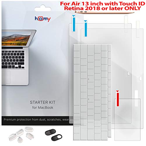 Homy Full Protection Kit for New MacBook Air 13 inch Retina 2018-2019: 2x Matte Screen Protector + Keyboard Cover Touch ID + 2x Webcam Anti-Spy Sliding Cover + Dust Plugs + Trackpad Cover, A1932 model