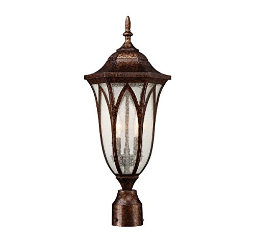Outdoor Post 2 Light With New Tortoise Shell Finish Candelabra Bulbs 9 inch 120 (New Tortoise Shell Finish)