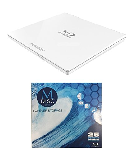 Samsung 6x SE-506CB/RSWD Portable Blu-ray Writer Bundle with 1 Pack M-DISC BD (White, Retail Box)