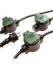 Verlengkabel voor buiten, 10 m, met 3 stopcontacten, IP44 verlengkabel brengt onopvallende stroom in de tuin, robuuste rubberen stroomkabel, enkele stopcontacten met grondpennen