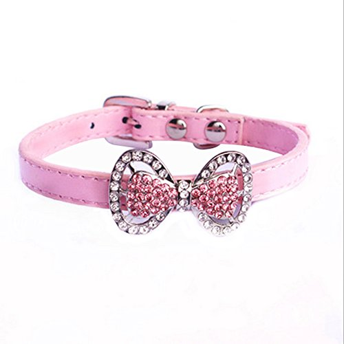 Yunt Bling Rhinestone Pet Cat Dog Bow Tie Collar Necklace Jewelry,Female Puppies Chihuahua Yorkie Girl Costume Outfits(Pink,Small) - Female Puppy Collar