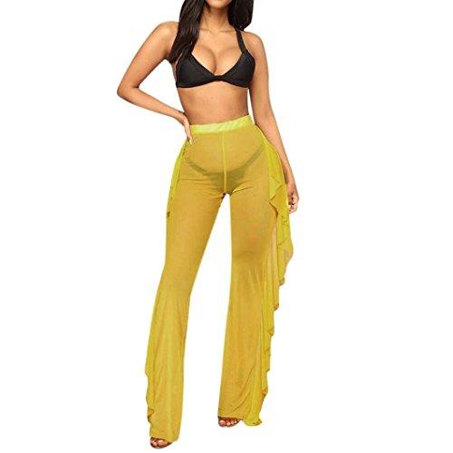 54517463e1 Women's Sexy Sheer Irregular Mesh Falbala Cover up Pants (Yellow, S ...