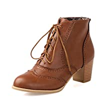 Susanny Women's Retro PU Lace Up Brogue Chunky Heel Ankle Booties Casual Oxford Shoes