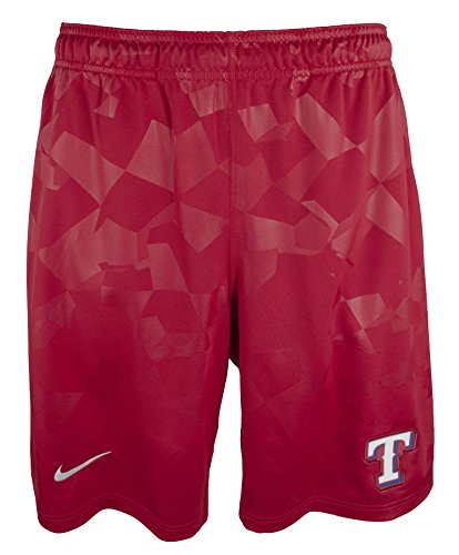 (Nike Men's Texas Rangers Dry Fly Shorts-R-L Red)