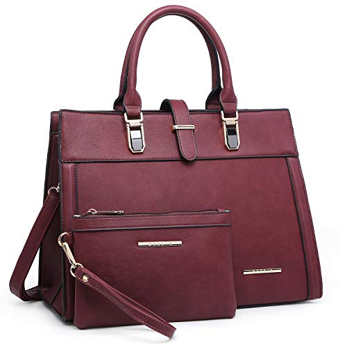 - Women's Purse Handbag Shoulder Bag Designer Tote Satchel Hobo Bag Briefcase Work Bag for Ladies (8000 2pcs- Burgundy)