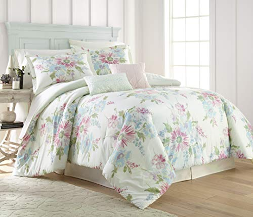 Bold Floral Print - Beautiful,Refreshing, and Bold Floral 5PC Comforter Set - Stunning,Bright Floral Print on a Soft Mint Ground,Queen