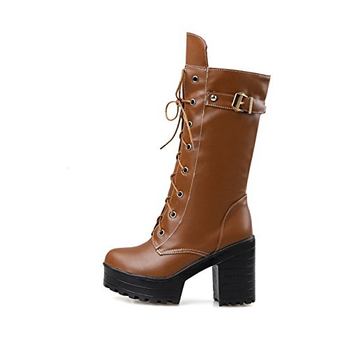 top High Closed Solid PU Boots Heels Mid Toe Brown Women's AgooLar Round gXwqa66