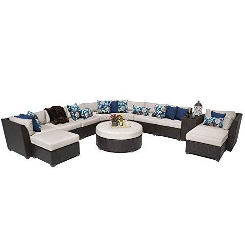 TK Classics 11 Piece Barbados Outdoor Wicker Patio Furniture Set, Beige 11c
