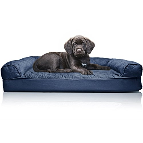 - FurHaven Pet Dog Bed | Orthopedic Quilted Sofa-Style Couch Pet Bed for Dogs & Cats, Navy, Small