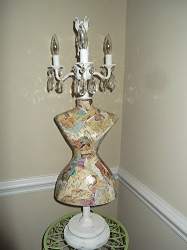 mannequin chandelier lamp french country chic vintage mannequin shabby chic chandelier crystals - Shabby Chic Chandelier