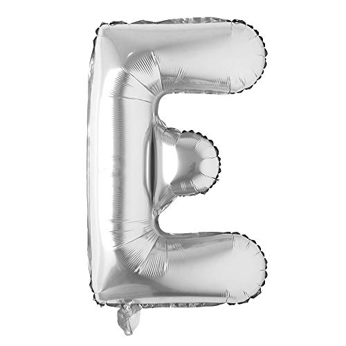 40 inch Letter Balloons Silver Alphabet Number Balloon Foil Mylar Party Wedding Bachelorette Birthday Bridal Shower Graduation Anniversary Celebration Decoration can fly with helium (40 INCH Silver E)