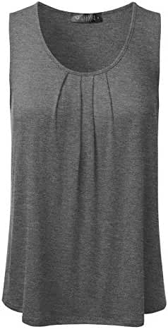 DRESSIS Women's Basic Soft Pleated Scoop Neck Sleeveless Loose Fit Tank Top S to 3XL