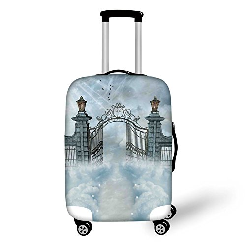 (Travel Luggage Cover Suitcase Protector,Fantasy House Decor,Fantasy Landscape with open Door Gate of Castle over the Clouds with Princess,Gray,for Travel)