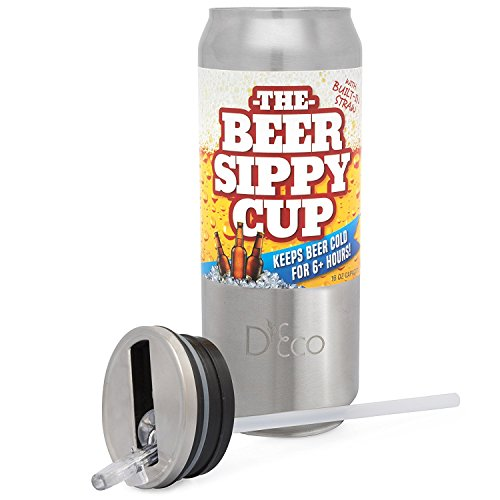 Flip Cup Beer (The Beer Sippy Cup, Stainless Steel Drink Tumbler Cooler - 16oz Double Insulated Can w Built In Straw - Keeps Cool 6+ Hrs)