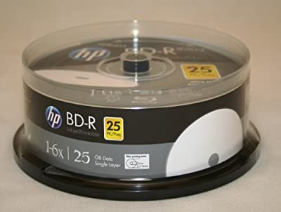 HP BD-R 6X 25GB Blu-Ray White Inkjet Printable 25 Pack in Spindle from hp