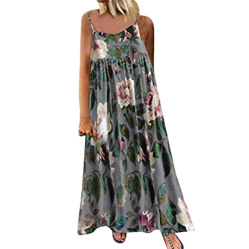 Dress 1960s Maxi - BODOAO Women Bohemian Print Dress Causal Sleeveless Camisole Dress Crewneck  Summer Dress