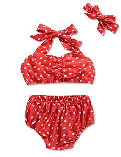 Baby Girl Swimsuit Ruffle Red Dot Top and Bikinis Skirt Headband 2 Piece Swimwear (Red-Polka Dot, 6-12 Months)