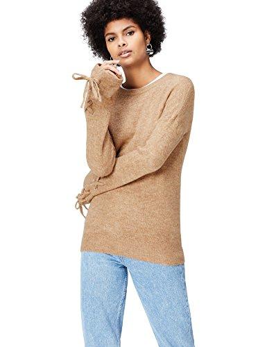 con Pullover Marrone Camel Maniche FIND Stringate Donna q5cXw8xd7x