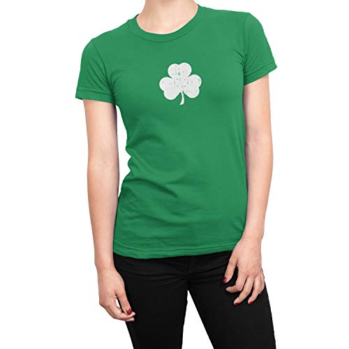(SCREEN PRINTED Ladies Shamrock T-Shirt St Patrick's Day Womens Tee Irish Green Distressed, Medium)