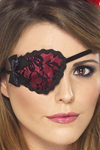 Smiffy's Red & Black Lace Pirate Eye Patch, Black / Red, One Size