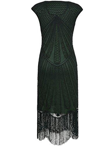 Kleid Flapper Deco Grün Damen Jahre Art Franse 1920er Kayamiya Inspirert Perlen Spitze Retro 4qwCF